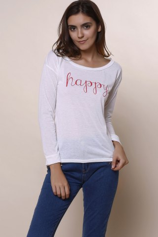 Outfit Stylish Scoop Neck Long Sleeve Letter Print T-Shirt + Tank Top Women's Twinset - M WHITE Mobile