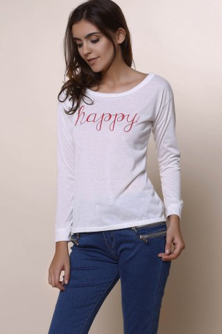 Online Stylish Scoop Neck Long Sleeve Letter Print T-Shirt + Tank Top Women's Twinset - M WHITE Mobile