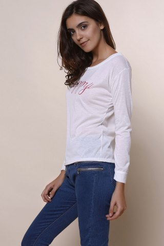 New Stylish Scoop Neck Long Sleeve Letter Print T-Shirt + Tank Top Women's Twinset - L WHITE Mobile