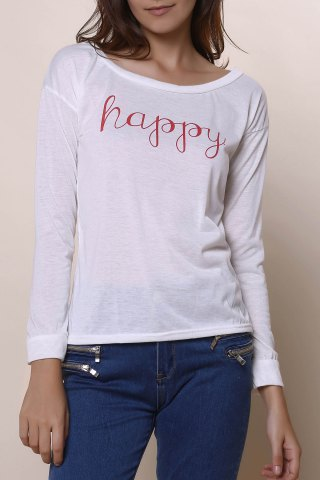 Online Stylish Scoop Neck Long Sleeve Letter Print T-Shirt + Tank Top Women's Twinset - XL WHITE Mobile