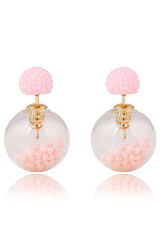 Cheap Pair of Resin Small Ball Pendant Stud Earrings PINK