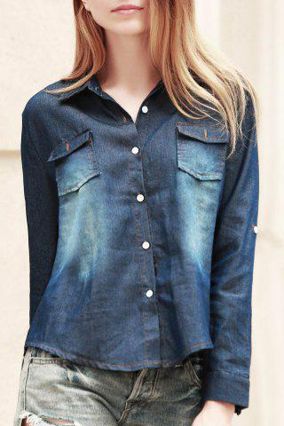 Fashionable Shirt Collar Long Sleeve Pocket Design Denim Women's Shirt - Deep Blue - M