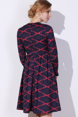 Trendy Argyle Fit and Flare Dress - S RED Mobile