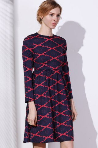 Trendy Argyle Fit and Flare Dress - M RED Mobile