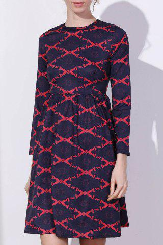 Unique Argyle Fit and Flare Dress - M RED Mobile