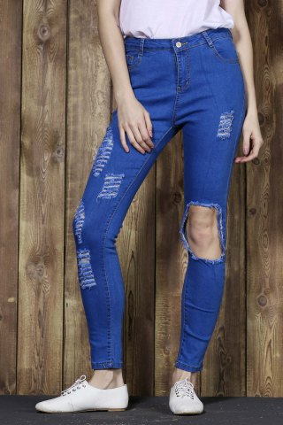 Cut Out Frayed Knee Cigarette Jeans - Blue - Xl