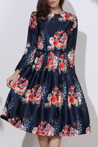 Vintage Floral Pleated Long Sleeve Midi Dress - Deep Blue - M