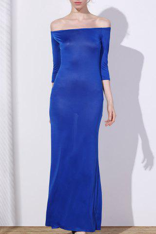 Chic Off-The-Shoulder 3/4 Sleeve Pure Color Women's Maxi Dress