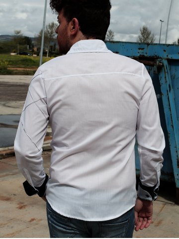 Unique Fashion Shirt Collar Slimming Checked Sutures Design Long Sleeve Polyester Shirt For Men - L WHITE Mobile