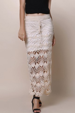 Chic Crochet Lace Long Skirt APRICOT ONE SIZE(FIT SIZE XS TO M)