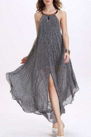 Cheap Halter Backless Chiffon Long Flowing Dress