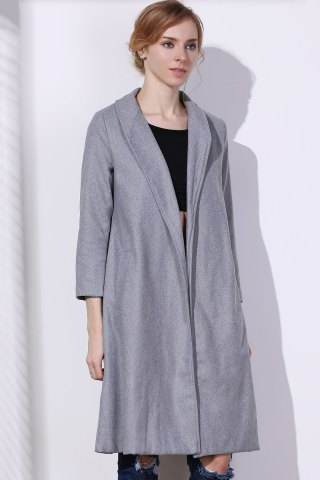 Affordable Shawl Neck Gray Wool Blend Coat - L GRAY Mobile