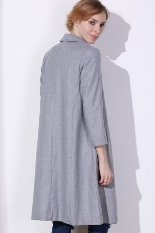 Store Shawl Neck Gray Wool Blend Coat - L GRAY Mobile