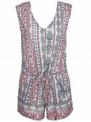 V-Neck Sleeveless Paisley Romper - COLORMIX M