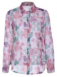 Refreshing Floral Printed Long Sleeve Shirt For Women -