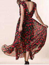 Open Back Cherry Print Long Swing Dress