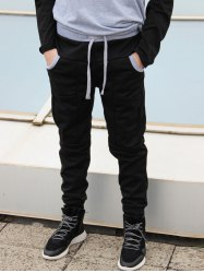 Slimming Stylish Lace-Up Color Block Splicing Beam Feet Polyester Men's Sweatpants - BLACK