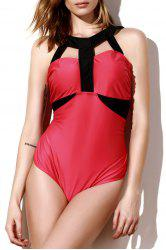 Sexy Round Neck Sleeveless Color Block Plus Size Women's Swimwear