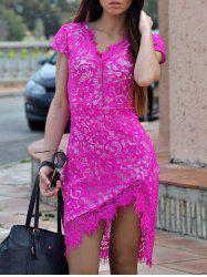 Sexy V-Neck Lace Embroidered Short Sleeve Bodycon Dress - ROSE