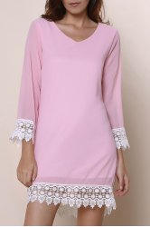 Stylish V-Neck Long Sleeve Laciness Chiffon Women's Dress
