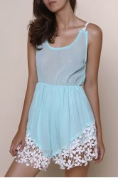 Sweet Low-Cut Hollow Out Lace Spliced Hem Elastic Waist Romper For Women - BLUE