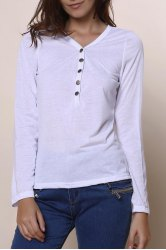 Sexy Plunging Neckline Solid Color Long Sleeves T-Shirt For Women - WHITE