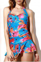 Floral Halter Flounce Skirted One-Piece Swimsuit - COLORMIX L