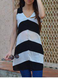 Sexy Plunging Neck Sleeveless Zig Zag Women's Dress - WHITE AND BLACK