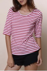 Casual Scoop Neck Half Sleeve Striped Women's T-Shirt -