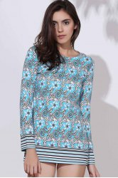 Ethnic Round Neck Long Sleeve Printed Bodycon Women's Dress - COLORMIX M