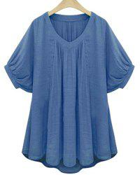 Sweet V-Neck Batwing Sleeve Solid Color Pleated Blouse For Women