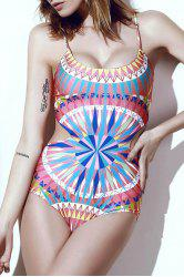 Sexy Scoop Neck Spaghetti Strap Colored Printed One-Piece Swimsuit For Women -