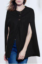 Vintage Style Scoop Neck Sleeveless Slant Cut Three Buttons Woolen Blend Women's Cloak - BLACK ONE SIZE