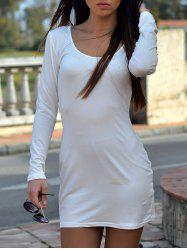 U Neck Cream Long Sleeve Mini T Shirt Dress - WHITE