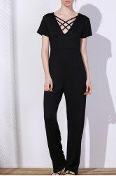 Sexy Hollow Out Lace-Up V-Neck Solid Color Wide-Leg Jumpsuit For Women - BLACK