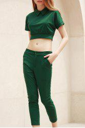 Trendy Peter Pant Collar Short Sleeve Solid Color and High-Waisted Pants Suit For Women -