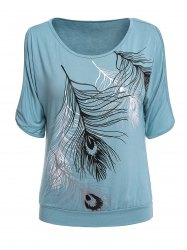 Stylish Scoop Neck Short Sleeves Cold Shloulder Printed T-Shirt For Women