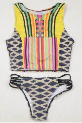 Geometrical High Neck Tankini Swimwear