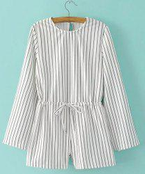 Women's Stylish Long Sleeve Striped Romper -