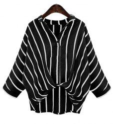 Chic Plus Size Turn-Down Collar Batwing Sleeve High-Low Hem Striped Women's Blouse - BLACK