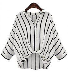 Chic Plus Size Turn-Down Collar Batwing Sleeve High-Low Hem Striped Women's Blouse - WHITE