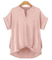 Chic Plus Size Stand Collar Short Sleeve Asymmetrical Women's Blouse - LIGHT PINK S