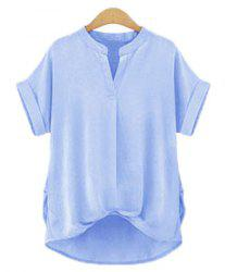 Chic Plus Size Stand Collar Short Sleeve Asymmetrical Women's Blouse - LIGHT BLUE