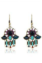 Pair of Resin Inlay Hollow Out Ethnic Style Earrings -