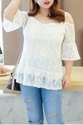 Stylish Plus Size V-Neck Spaghetti Strap Lace Blouse For Women - WHITE