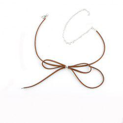Hollow Out Adjustable Bow Embellished Chokers - BROWN
