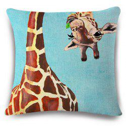 Creative Flappy Giraffe Pattern Square Shape Flax Pillowcase (Without Pillow Inner) -
