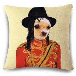 Fashion Puppy and Michael Jackson Pattern Square Shape Flax Pillowcase (Without Pillow Inner) -