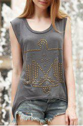 Women's Stylish Studs Eagle Embellished Asymmetrical Tank Top -