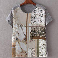 Stylish Round Collar Tiny Flower Print Patchwork Short Sleeve T-Shirt For Women - COLORMIX S